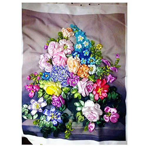 Ribbon Embroidery Kit Europe Flowers in Vase DIY Wall Decor Needle Work 3D Painting Embroidery Fabric, Size 19.7