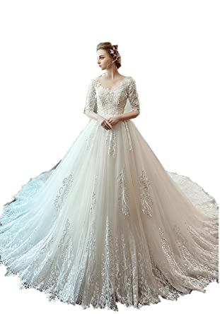 fd2fee598dbc Darcy74Dulles Women's Long Sleeves White Ball Gown Bridal Wedding Gowns  Tulle Appliques Dresses Sparkly at Amazon Women's Clothing store: