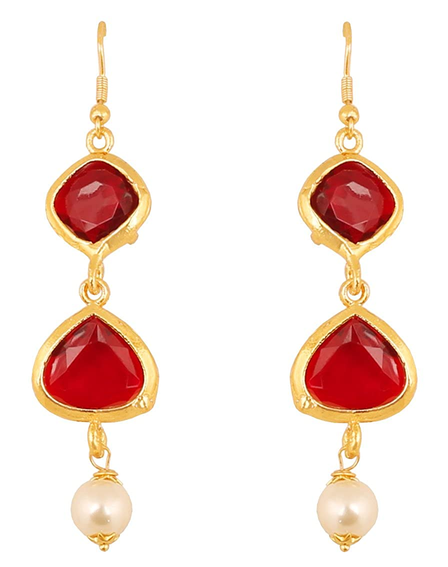 0b4d9280e Amazon.com: Touchstone Indian Bollywood Square and Heart Shape Red Faux  Ruby Faux Pearls Exclusive Designer Jewelry Hanging Earrings in Gold Tone  for Women.