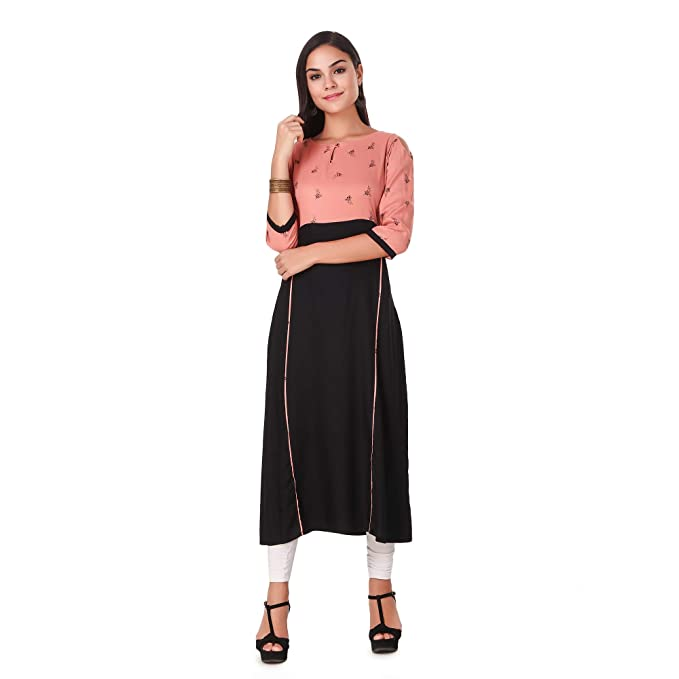 5d1cf598e94 LW Women s Black Casual Straight Kurti  Amazon.in  Clothing ...