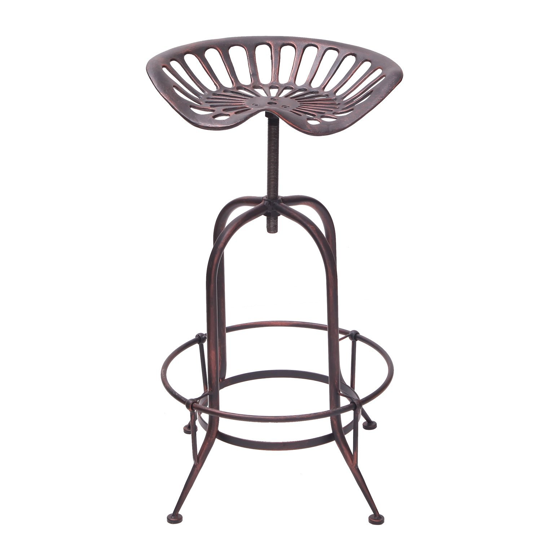 Decent Home Industrial Metal Corkscrew Rivet Adjustable Swivel Trackor Saddle Seat Counter Bar Stool Antique Bronze