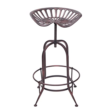 Outstanding Decent Home Industrial Metal Corkscrew Rivet Adjustable Swivel Trackor Saddle Seat Counter Bar Stool Antique Bronze Cjindustries Chair Design For Home Cjindustriesco