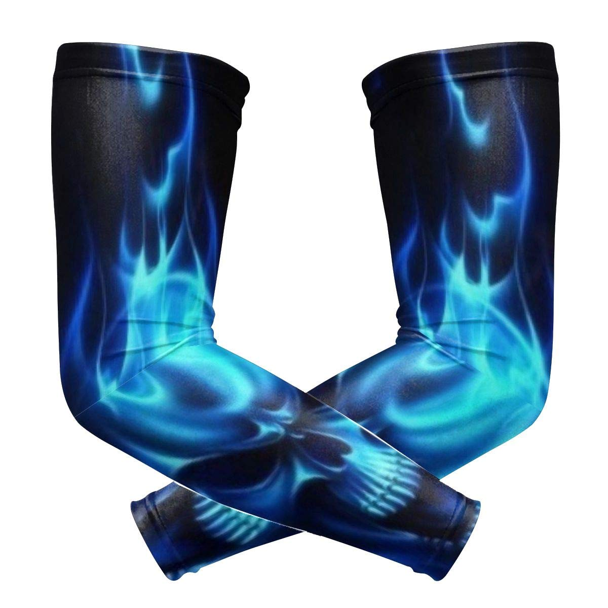 Flamin Blue Cool Skull Arm Sleeves Fake Temporary Tattoo Arm Sunscreen Sleeves High Elastic Compression Sleeves For Athletic Sports Men /& Women