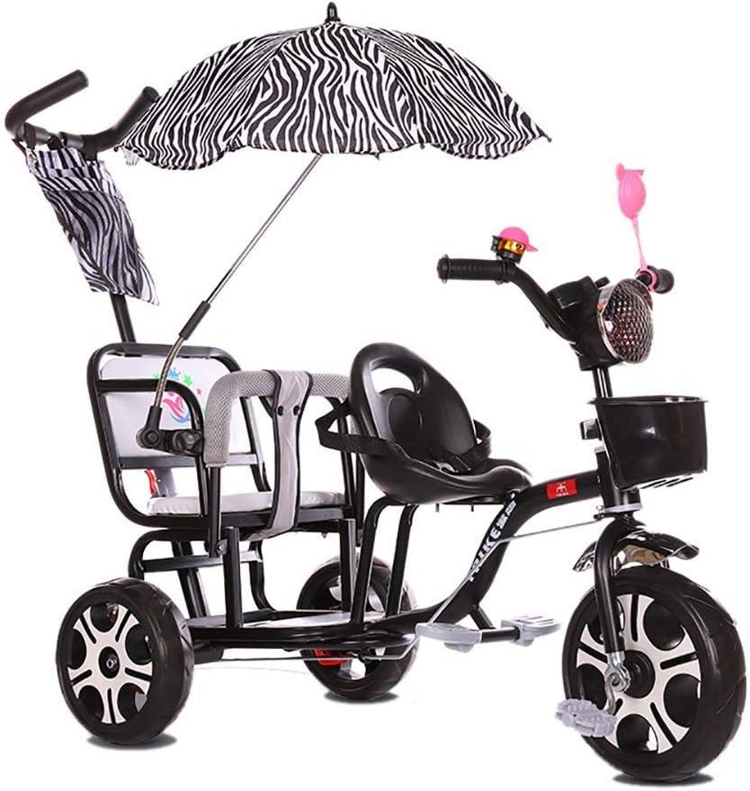 HQSF Carrito de bebé Triciclo para niños Doble Carro de bebé Doble Portátil 1-3-6 años Carro de bebé Grande con empuñadura Luz de música y paraguasBlack