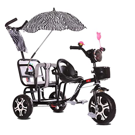 HQSF Carrito de bebé Triciclo para niños Doble Carro de bebé ...