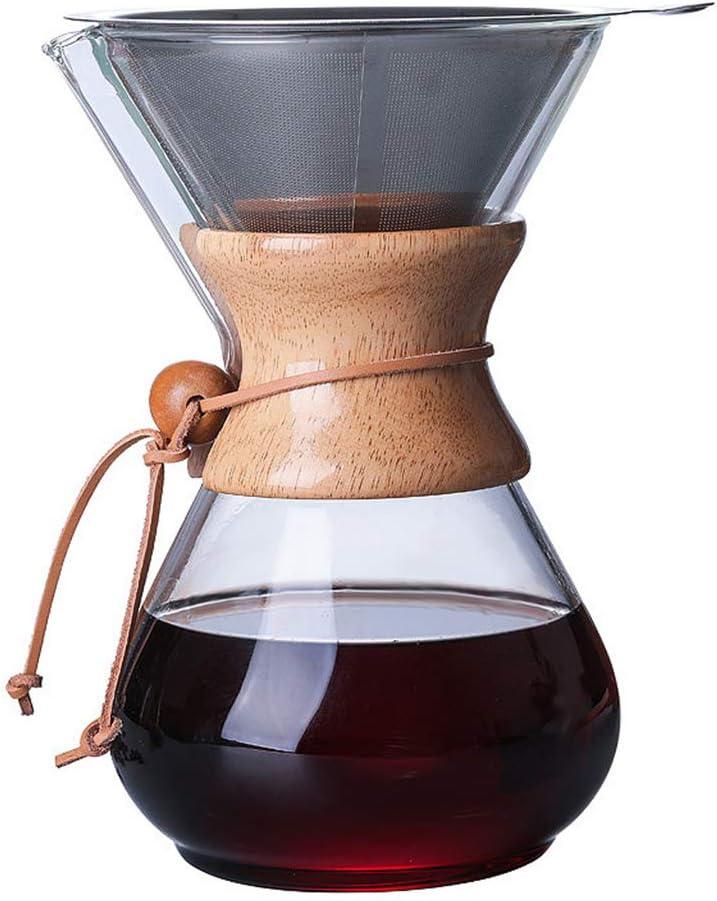 Tipo de Goteo Taza de Filtro de café para el hogar Cafetera de Vidrio Lavada a Mano, con cafetera, con Filtro de Acero Inoxidable: Amazon.es: Hogar