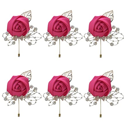 Mini Rose Flower Lapel Pin Brooches For Men Women 15 Colors Wedding Groomsmen Pins & Brooches