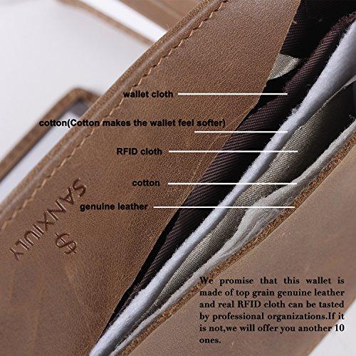 SANXIULY MensGenuineLeatherBifoldWalletExtraCapacityWith2IDWindowAndRFIDBlocking color Waxed Leather Brown by SANXIULY (Image #6)