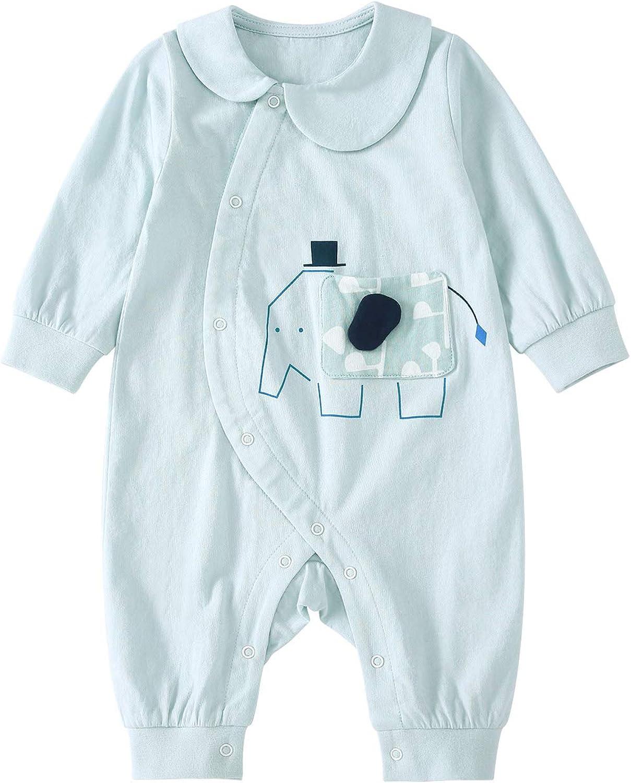pureborn Baby Long Sleeve Cotton Jumpsuit Newborn Collar Coverall Sleep and Play