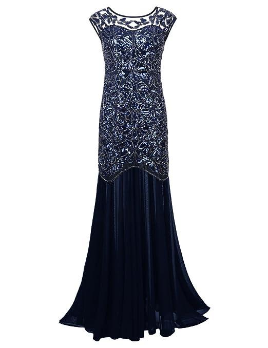 c3bc72342c59 41 opinioni per PrettyGuide Donne 1920s Nero Paillettes Gatsby Maxi Lungo  Prom Vestito Da Sera