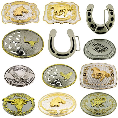 12 Pcs Bull Eagle Horse Horseshoe Western Scorpions Wholesale Lot Belt Buckles from Generic/Buckleszone
