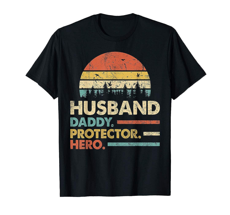 Husband Daddy Protector Hero Tshirt Dad Vintage Papa Gift Size S5xl