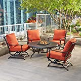 Redwood Valley 5-Piece Patio Seating Set with Fire Pit and Quarry Red Cushions