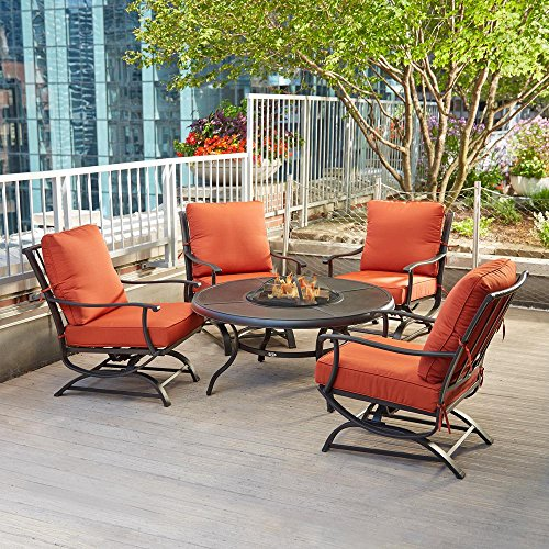 Redwood Patio Furniture Cushions - Redwood Valley 5-Piece Patio Seating Set with Fire Pit and Quarry Red Cushions