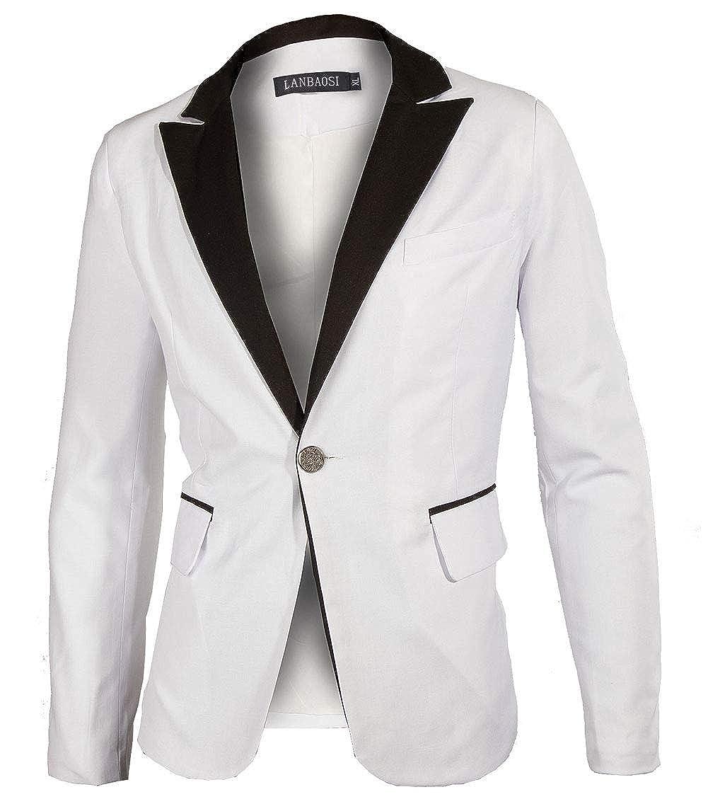 White Blazer Jacket Men One Button Casual Suit Coat Slim Fit Notch Lapel Party br001