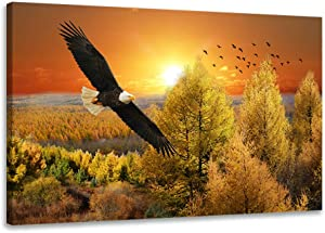 SKASNFAI Golden Sunset Landscape Prints on Canvas Wall Art Bald Eagle Paintings Wall Decor Art Nature Scenery Forest Painting Modern Feramed Home Decor for Bedroom Farmhouse Room(20x30inch)