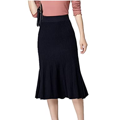 YXHM E Punto acanalado falda Mimore apretado hasta la rodilla ...