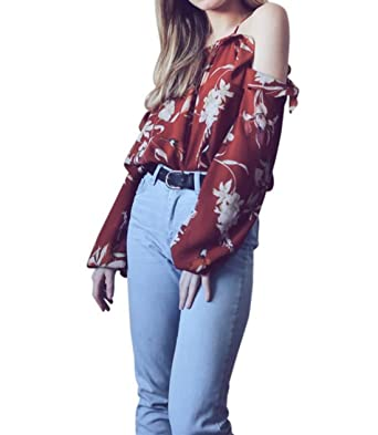 30473b15 VEMOW 2018 Spring Summer New UK Tops For Women Ladies Girls Sexy Party Club  Beach Cute Womens Red Ruffles Floral Print Tops Cold Shoulder Long Sleeve  ...