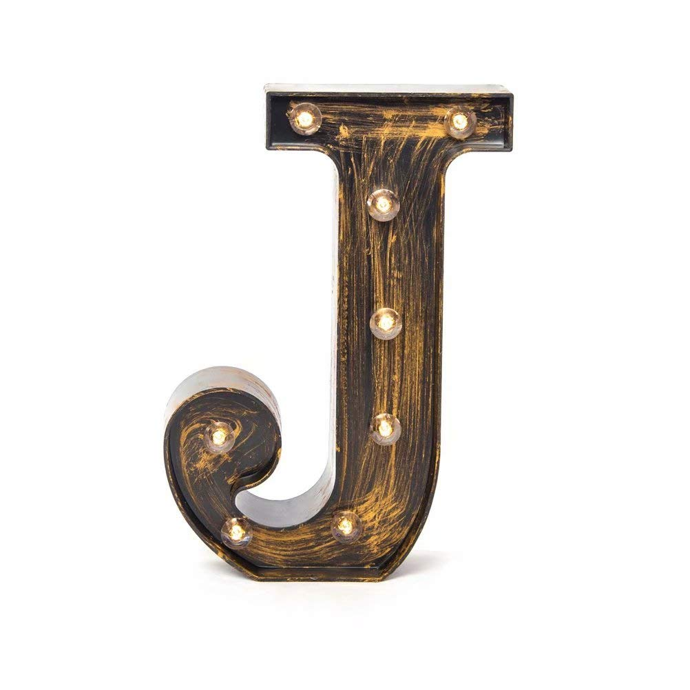 Glintee LED Marquee Letter Lights Vintage Style Light Up 26 Alphabet Letter Signs for Wedding Birthday Party Christmas Home Bar Cafe Initials Decor(J)