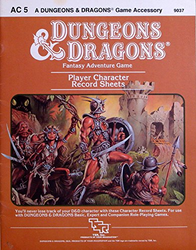 Dungeons & Dragons Player Character Record Sheets (D&D Accessory AC5)