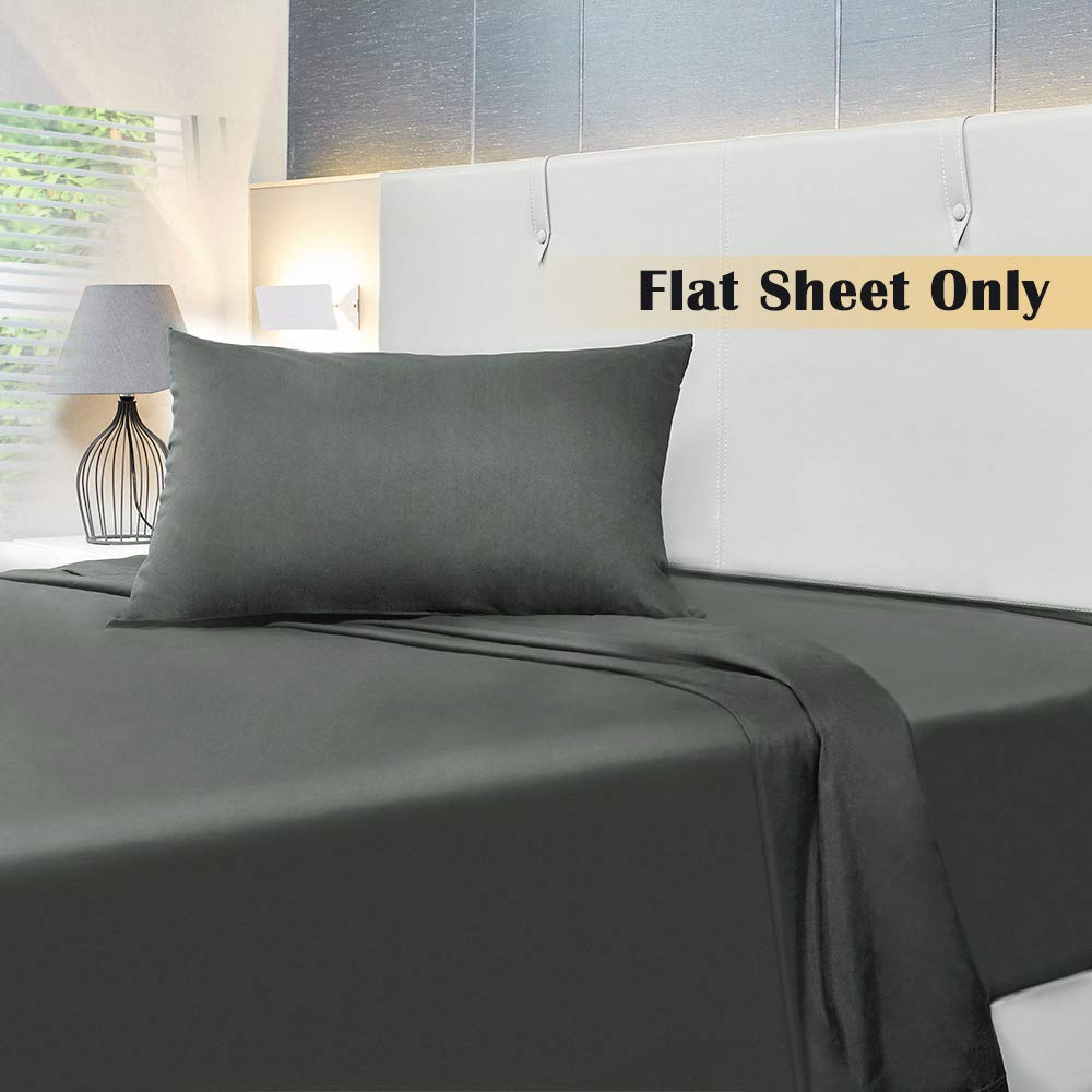 1500 Thread Count Brushed Microfiber Flat Bed Sheet White, King 1- Piece Ultra Soft Breathable Allo Flat Sheet Wrinkle Resistant No Fade Hypoallergenic