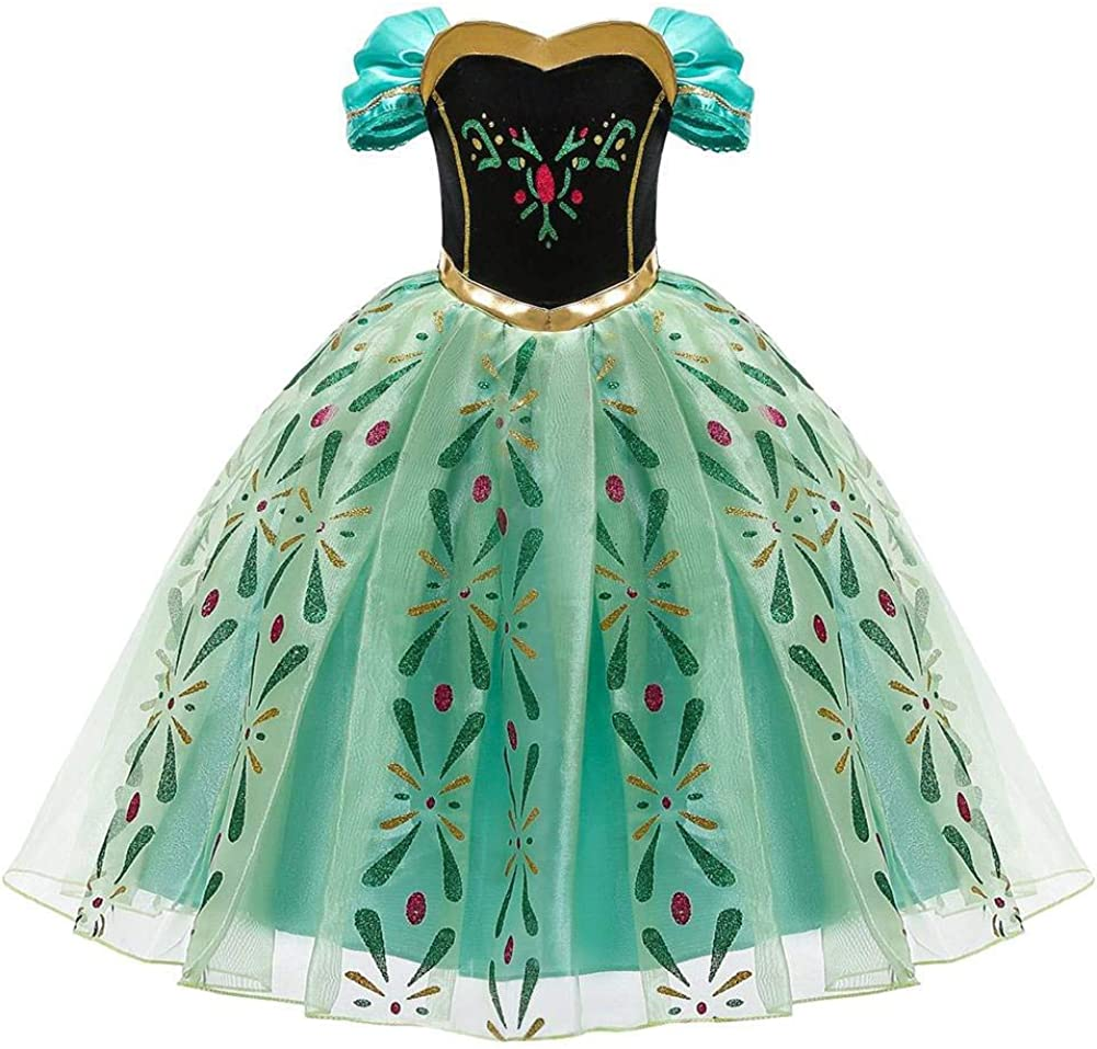 OwlFay Disfraz de Princesa Anna Ni/ñas Reino del Hielo Vestidos de Carnaval Fiesta Cosplay Halloween Fancy Dress Up Costume 2-10 A/ños