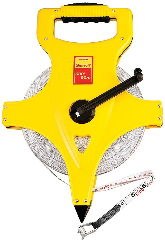 Length 0.5 Starrett KTS537-300ME-N ABS Plastic Yellow Case Open Reel Fiberglass Long Tape 100m 12.7mm Width English//Metric Graduation Style 0.125 Graduation Interval 300