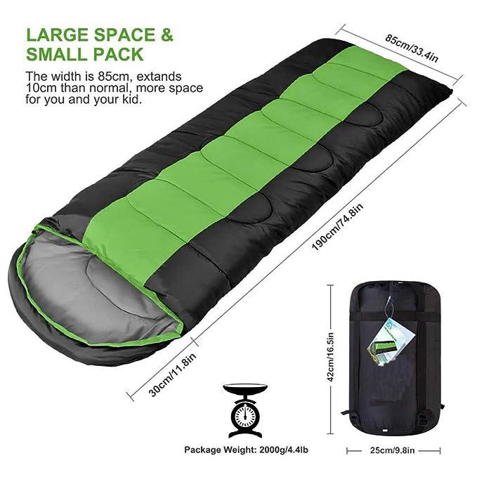 KANGLE Bolsa De Dormir-Envolvente Tipo Portátil Impermeable Costura Engrosamiento Saco De Dormir para Acampar, Senderismo, Actividades Al Aire Libre: ...