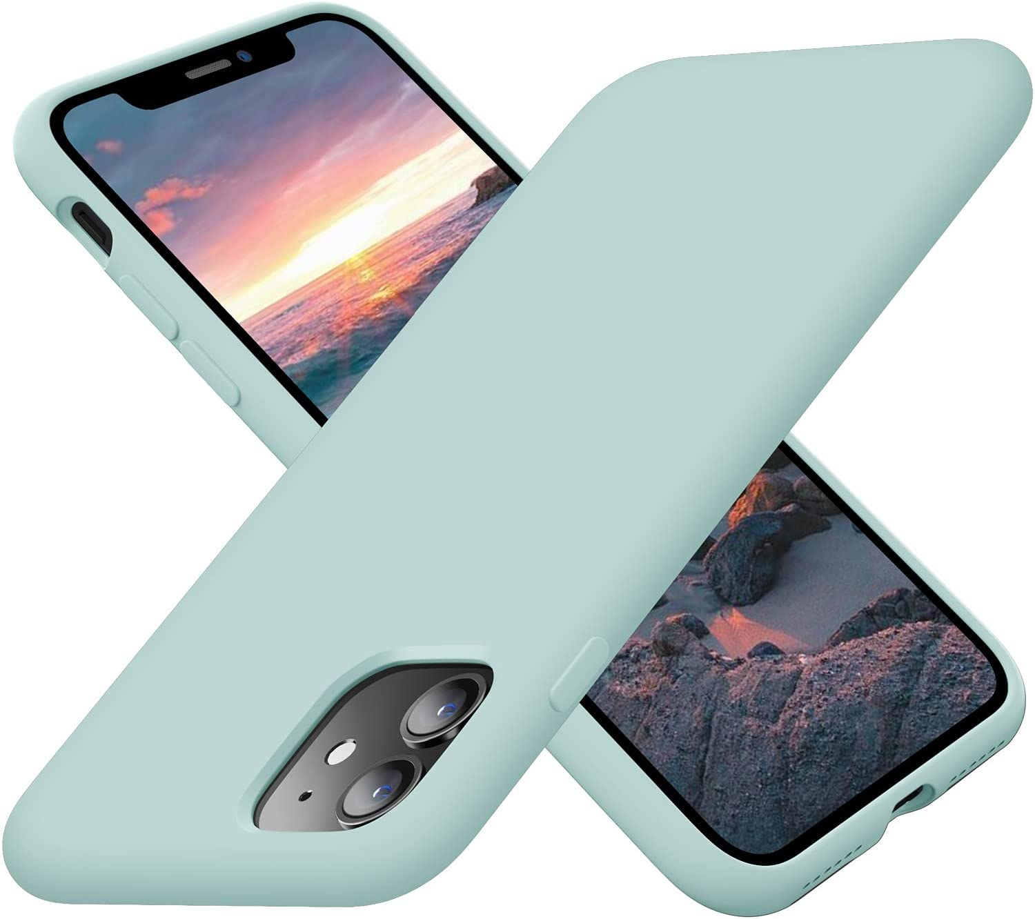 Cordking iPhone 11 Case for Girls, Silicone Ultra Slim Shockproof Phone Case with [Soft Anti-Scratch Microfiber Lining], 6.1 inch, Mint Green