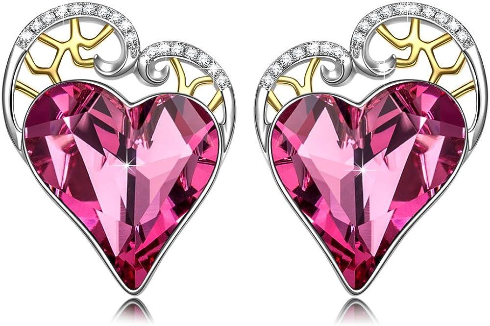 Kami Idea Mujer Pendientes de Botón, El Amor Sucede, Corazón Rosa, Cristales de Swarovski, Embalaje de Regalo, Regalos para Mamá