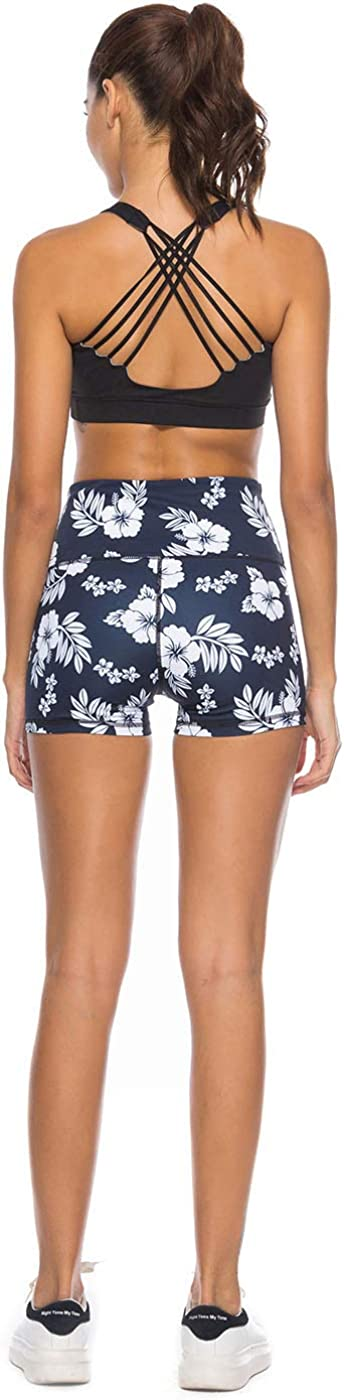 Mint Lilac Women/'s High Waist Workout Printed Yoga Shorts Athletic Tummy Control Running Short Pants