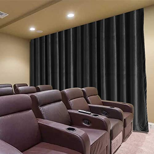 Frelement Large Movie Theater 250W x 96L Inches Noise Reduction Velvet Privacy Flat Hooks Curtains Master Bedroom Drape