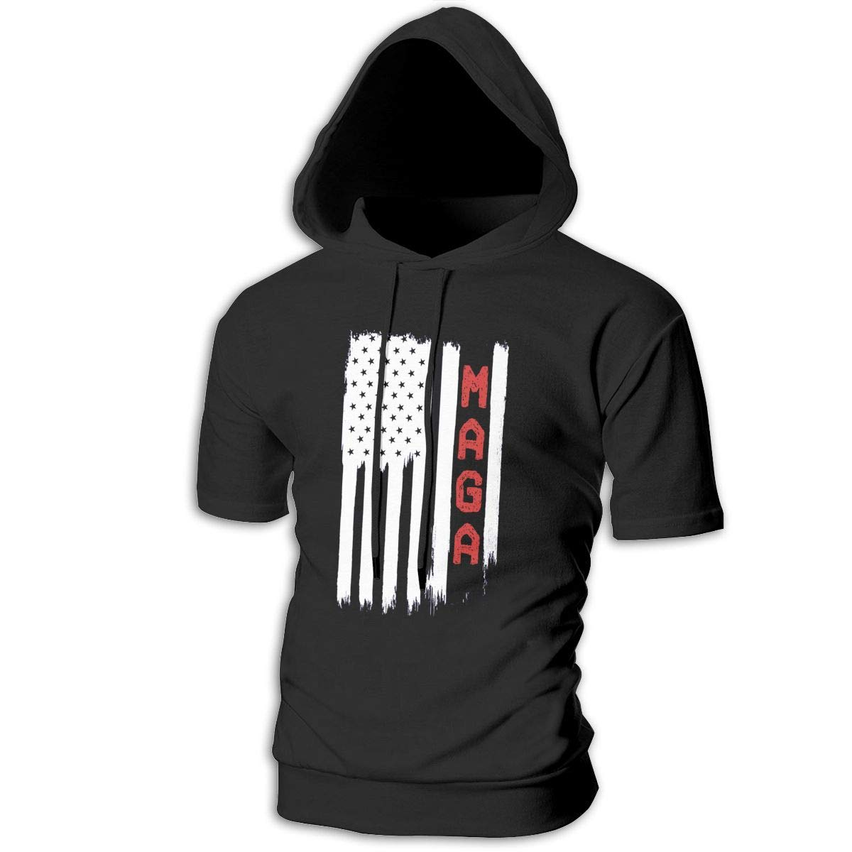 MZ-HY MAGA Mens Cool Short Sleeve Hoodie Pullover Soft Hooded T-Shirt