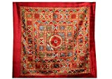 Indian Mirror Embroidery Work Design Cotton Wall Hanging Tapestry 31