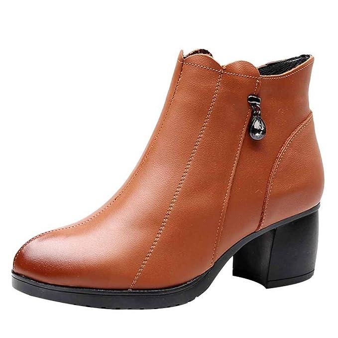 Damas De Mujer Martin Boots Botines De Cuero Mujer Gruesa Con Pedrería Puntiaguda Otoño E Invierno Botas Nuevas De Cuero Antideslizantes: Amazon.es: Ropa y ...