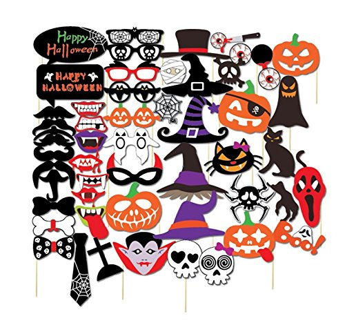 [Halloween Photo Booth Props Decorations, Holiday Day Props Attached to the Stick Halloween Decorations - DIY REQUIRED - 52 Count] (Best Halloween Props 2017)