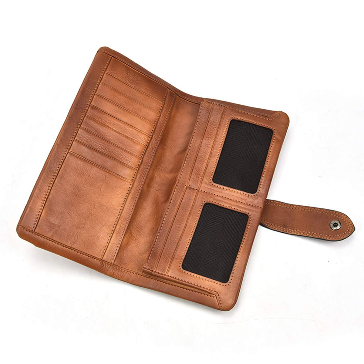 OMMILA Billetera de Hombres Piel Genuina Unisexo Billetera Larga Posición Multi-Tarjeta Hebilla: Amazon.es: Equipaje