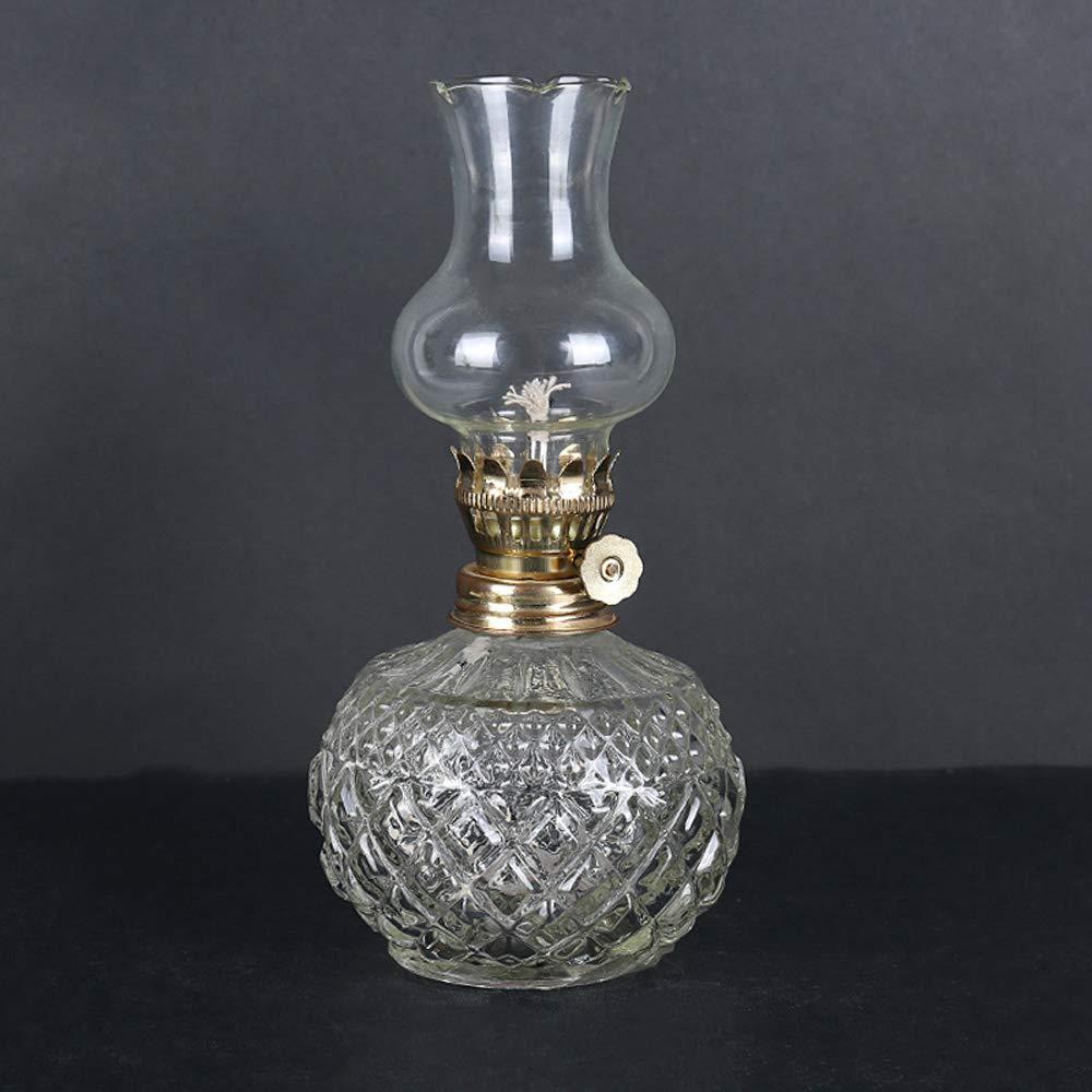 KMYX Lampe à huile classique maison d'urgence lumière coupure de courant antique lampe au kérosène corps rond lampe à beurre pour Bouddha lumière Vintage Props bricolage yuxinkemao