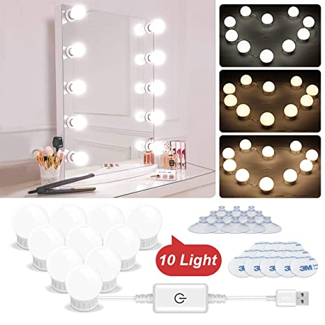 wholesale dealer 14d28 506a1 Vanity Lights, LED Vanity Mirror Lights, Hollywood Style Makeup Light Kit  with Dimmable Light Bulbs Adjustable Length USB Power Supply Plug in ...