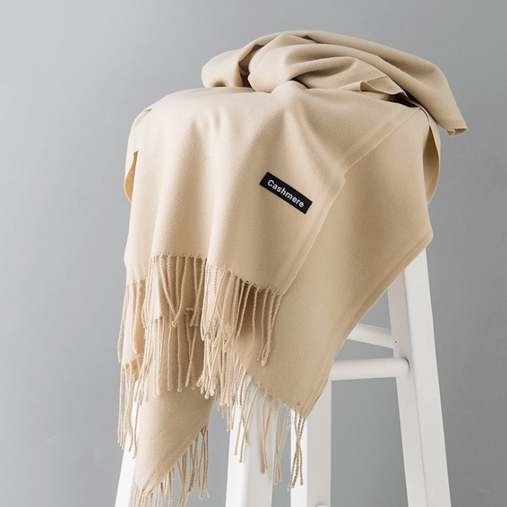 Solid Color Cashmere Feel Scarf U-LOVE Scarves Large soft Shawl wrap for womens ( Beige)
