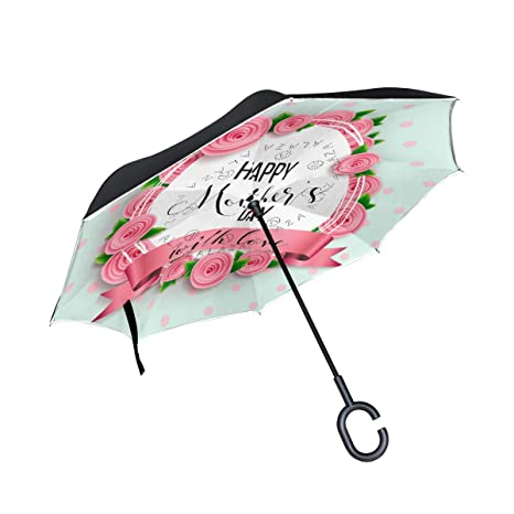 0c6e2dd2d444 Amazon.com: U LIFE Reverse Inverted Sun Rain Umbrella Happy Mother's ...