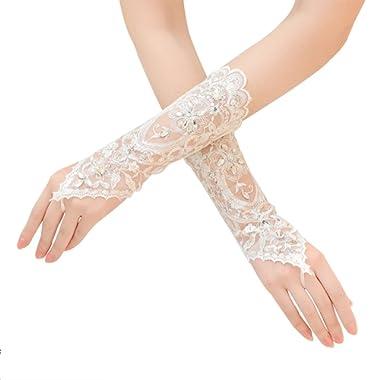 Bridal Fingerless Gloves Wedding Bridal Satin Beaded Gloves