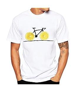 Homebaby® Camicia Uomo Elegante Maglietta Manica Corta Bianco - T-Shirt Uomo Vintage - T Shirt Stretch Maglione Cotone Uomo Tumblr Estiva Particolari Magliette Corte (XXL, Giallo)