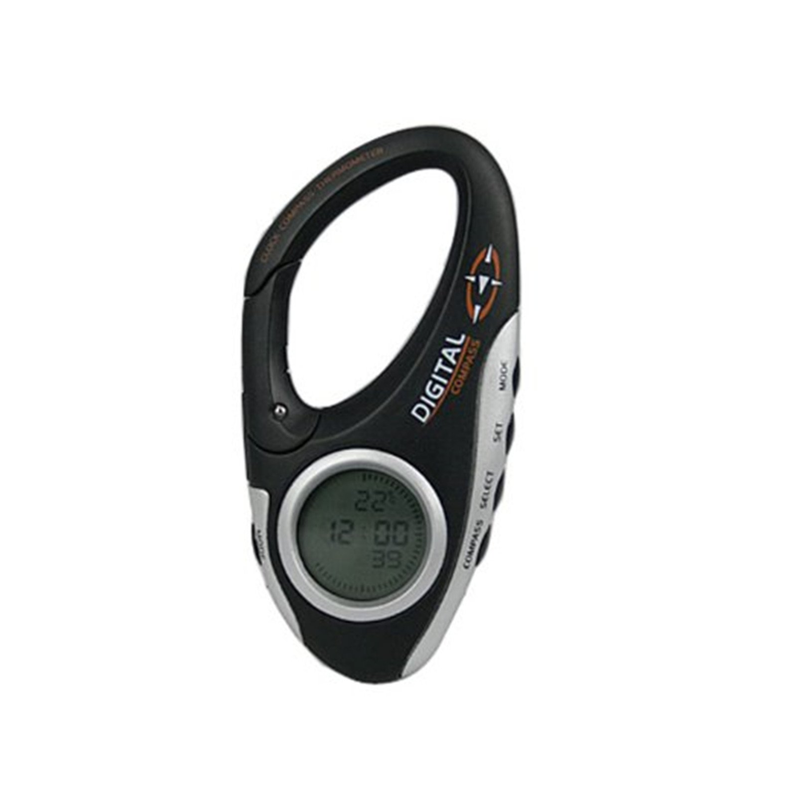 Allytech Handheld Electronic Digital Compasses with Thermometer Clock LCD Display Mini Carabiner Clip Backlight Outdoor Travel For Sports Camping (Not including batteries)