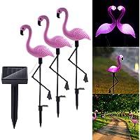 Alician 3 LEDs Solar-Power Garden Light Flamingo Lawn Lamp Waterproof Night Light for Outdoor Garden Decoration