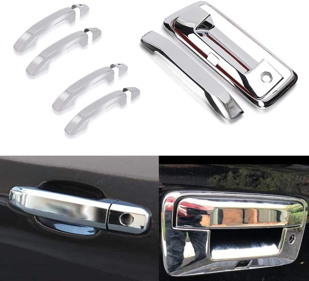 Tailgate Cover Fits 2014-2018 Chevrolet//Chevy Silverado GMC Sierra 1500 2500 3500-NOt Fit Towing Mirror Door Handles Tutor Auto Chrome Top Half Mirror Covers