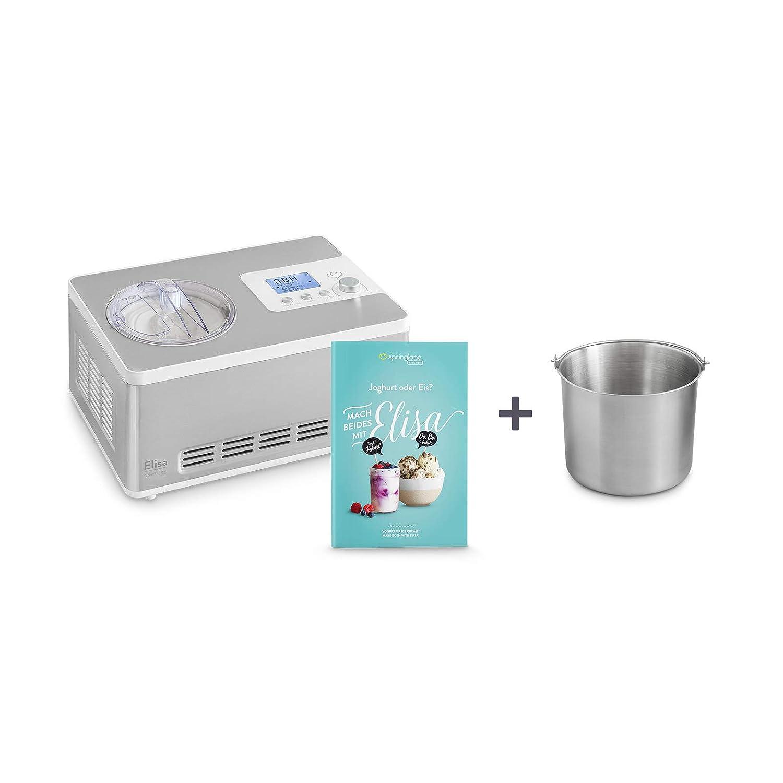 Heladera yogurtera 2 en 1 Elisa con compresor de refrigeración y función de calefacción, 2 l Máquina de helados y yogur en acero inoxidable, función ...