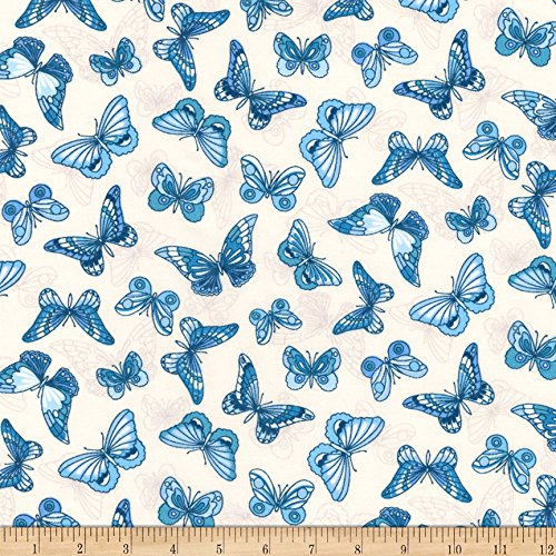 Insects Care Lawn (Robert Kaufman 0567760 Kaufman London Calling Lawn Blue Butterflies Fabric by The Yard)