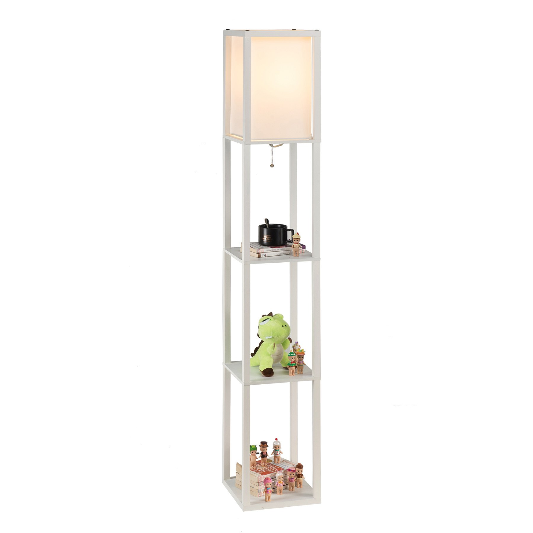 Details about CO-Z Floor Standing Lamp with 3 Storage Display Wood Shelves  for Corner Bedroom
