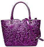 Malirona Embossed Floral Leather Top-handle Handbag Tote Bag Purse Crossbody Bag For Women (Purple)
